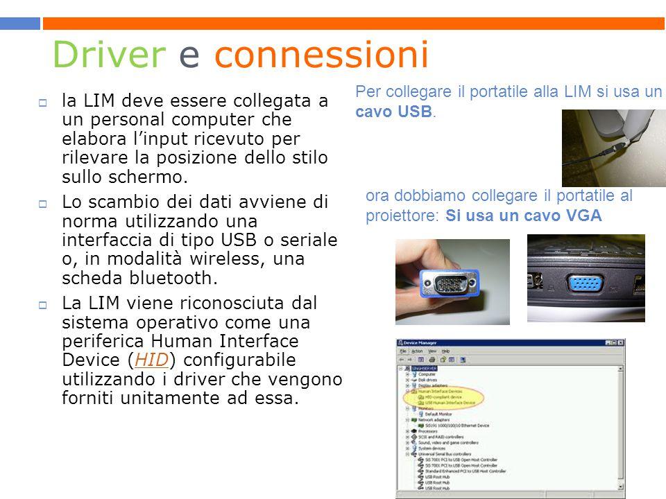 Driver e connessioni  la LIM deve essere collegata a un personal computer che elabora l'input ricevuto per rilevare la posizione dello stilo sullo schermo.