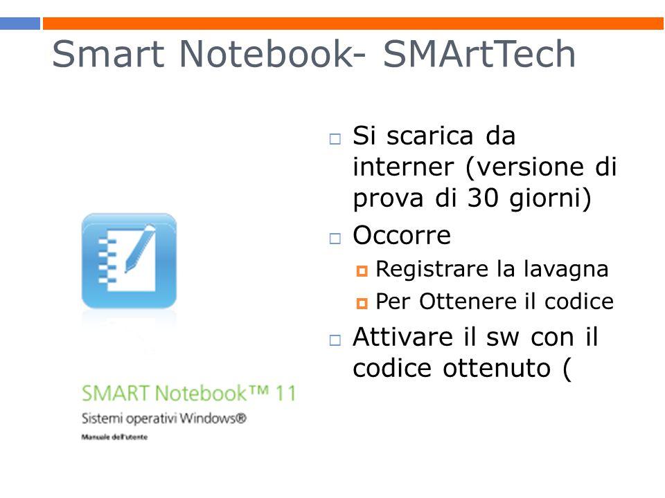 Smart Notebook- SMArtTech  Si scarica da interner (versione di prova di 30 giorni)  Occorre  Registrare la lavagna  Per Ottenere il codice  Attivare il sw con il codice ottenuto (