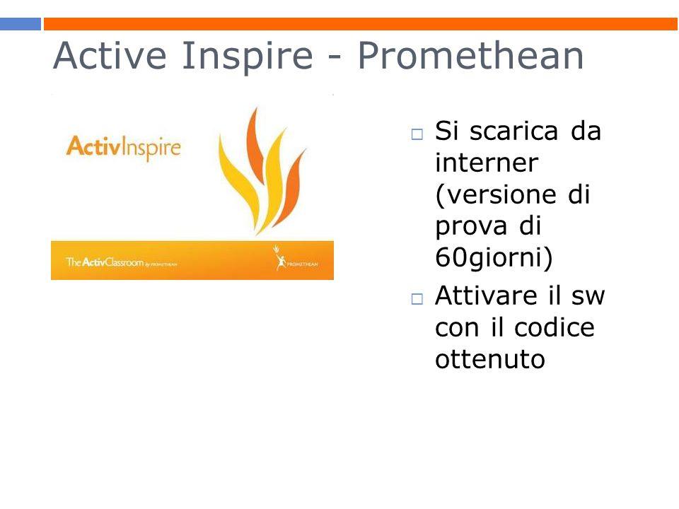 Active Inspire - Promethean  Si scarica da interner (versione di prova di 60giorni)  Attivare il sw con il codice ottenuto