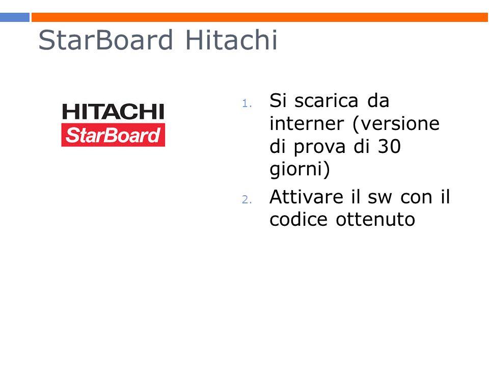 StarBoard Hitachi 1.Si scarica da interner (versione di prova di 30 giorni) 2.