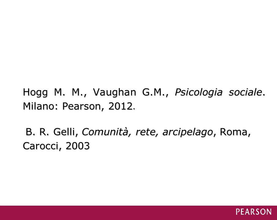 Hogg M. M., Vaughan G.M., Psicologia sociale. Milano: Pearson, 2012. B. R. Gelli, Comunità, rete, arcipelago, Roma, Carocci, 2003 B. R. Gelli, Comunit