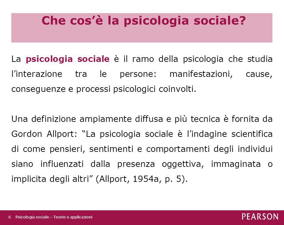 Che cos'è la psicologia sociale.(cont) Presenza oggettiva: presenza fisica di altre persone.