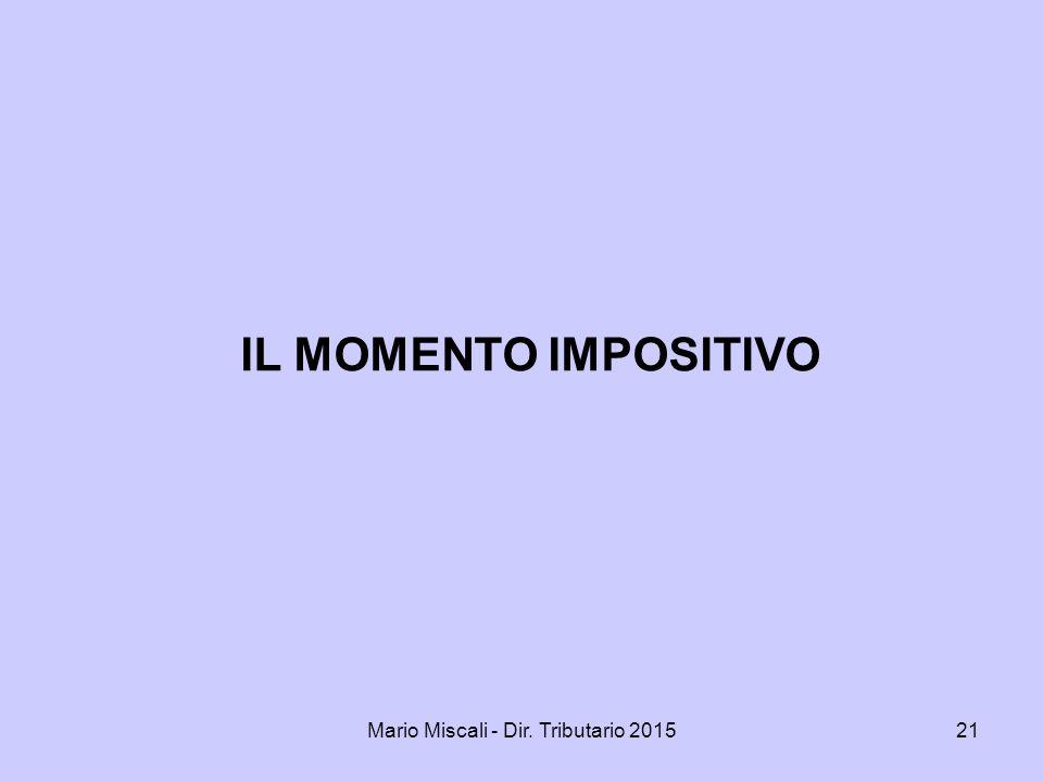 Mario Miscali - Dir. Tributario 201521 IL MOMENTO IMPOSITIVO