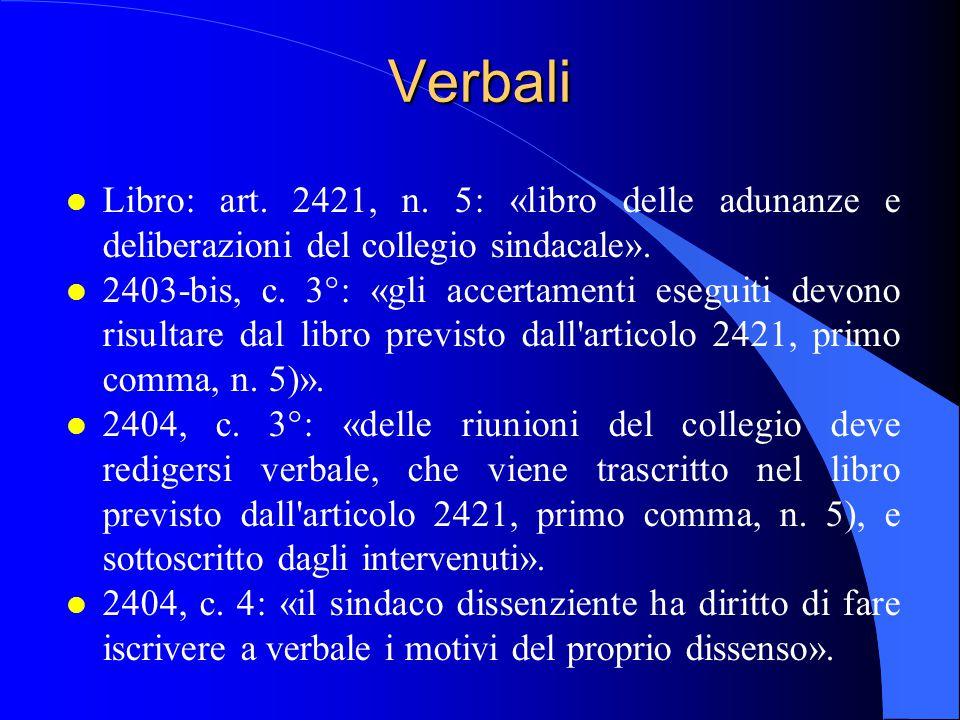 Verbali l Libro: art. 2421, n. 5: «libro delle adunanze e deliberazioni del collegio sindacale». l 2403-bis, c. 3°: «gli accertamenti eseguiti devono