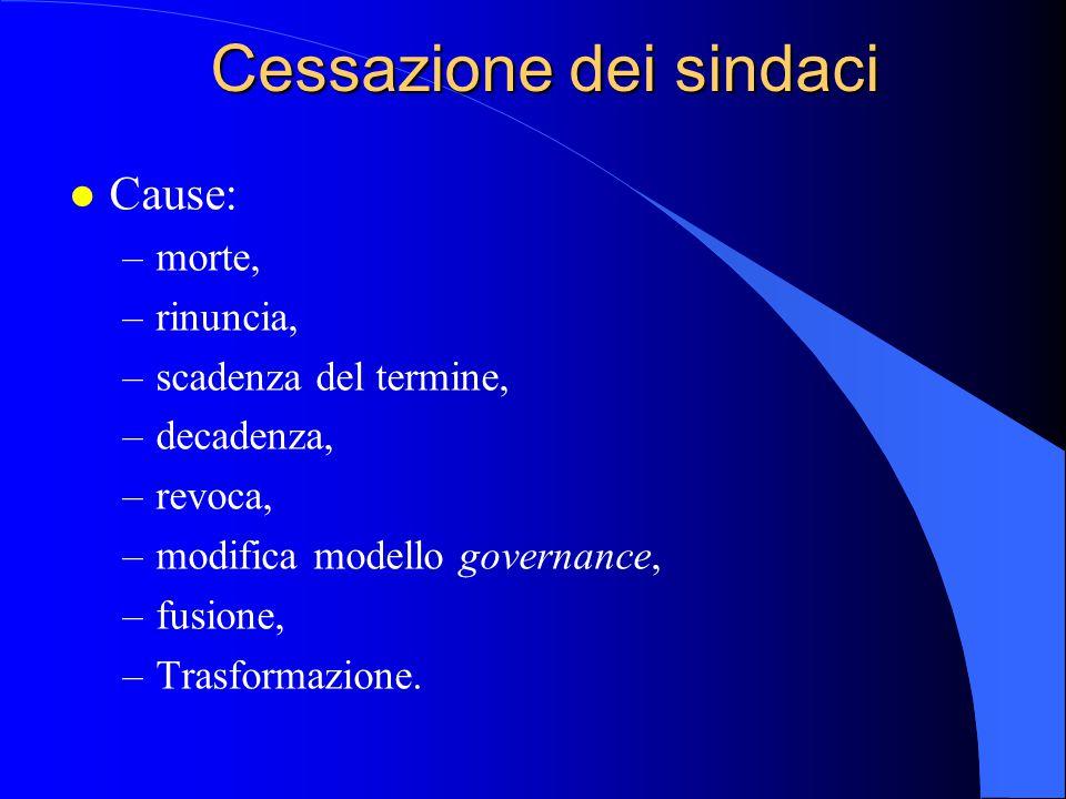 Cessazione dei sindaci l Cause: –morte, –rinuncia, –scadenza del termine, –decadenza, –revoca, –modifica modello governance, –fusione, –Trasformazione