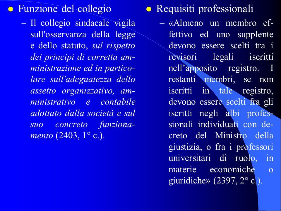 l Funzione del collegio –Il collegio sindacale vigila sull'osservanza della legge e dello statuto, sul rispetto dei principi di corretta am- ministraz