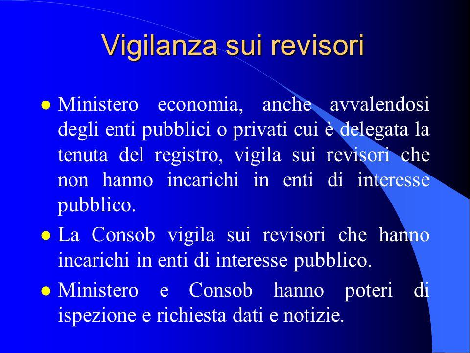 Vigilanza sui revisori l Ministero economia, anche avvalendosi degli enti pubblici o privati cui è delegata la tenuta del registro, vigila sui revisor