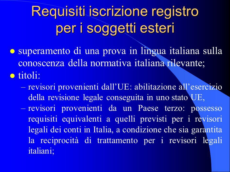 Requisiti iscrizione registro per i soggetti esteri l superamento di una prova in lingua italiana sulla conoscenza della normativa italiana rilevante;