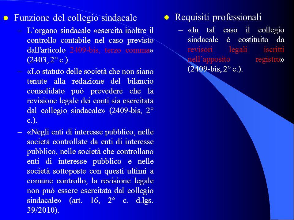 l Funzione del collegio sindacale –L'organo sindacale «esercita inoltre il controllo contabile nel caso previsto dall'articolo 2409-bis, terzo comma»