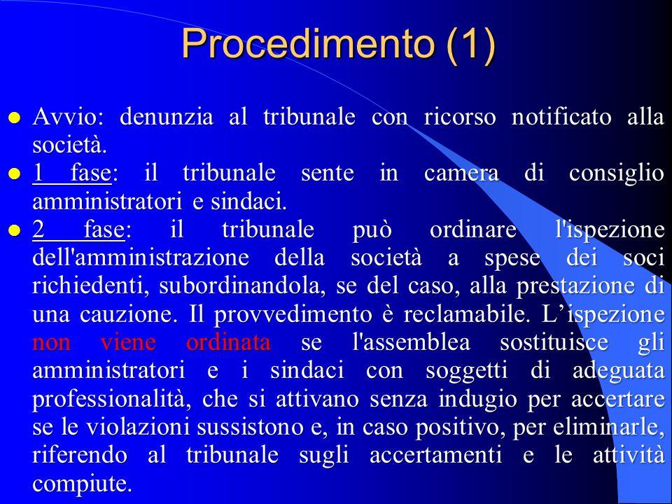 Procedimento (1) l Avvio: denunzia al tribunale con ricorso notificato alla società. l 1 fase: il tribunale sente in camera di consiglio amministrator