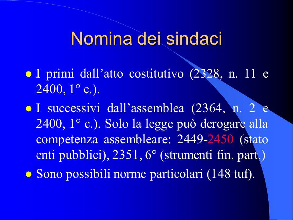 Nomina dei sindaci l I primi dall'atto costitutivo (2328, n. 11 e 2400, 1° c.). l I successivi dall'assemblea (2364, n. 2 e 2400, 1° c.). Solo la legg