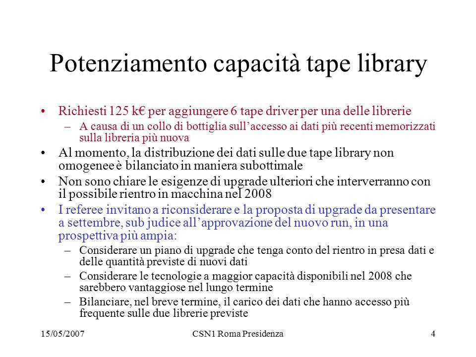 15/05/2007CSN1 Roma Presidenza4 Potenziamento capacità tape library Richiesti 125 k€ per aggiungere 6 tape driver per una delle librerie –A causa di u