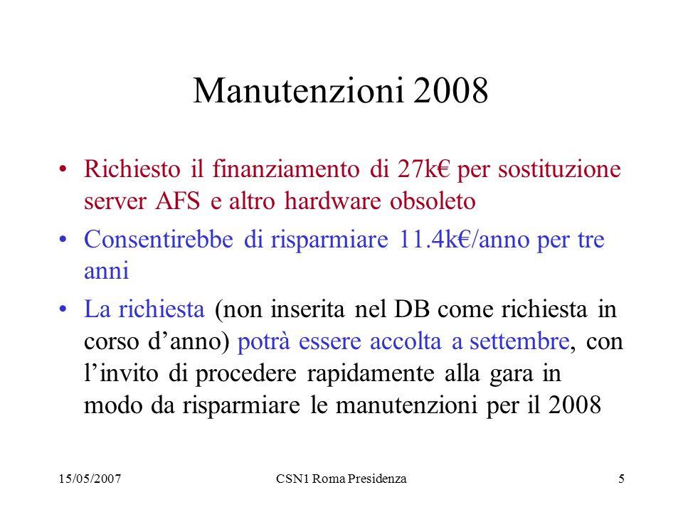 15/05/2007CSN1 Roma Presidenza5 Manutenzioni 2008 Richiesto il finanziamento di 27k€ per sostituzione server AFS e altro hardware obsoleto Consentirebbe di risparmiare 11.4k€/anno per tre anni La richiesta (non inserita nel DB come richiesta in corso d'anno) potrà essere accolta a settembre, con l'invito di procedere rapidamente alla gara in modo da risparmiare le manutenzioni per il 2008