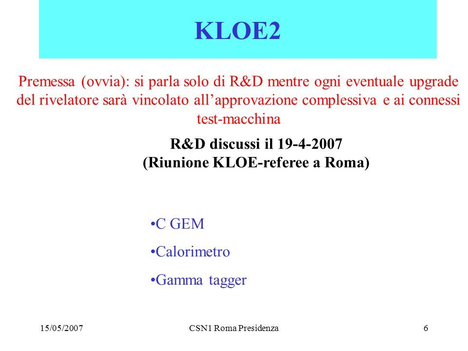 15/05/2007CSN1 Roma Presidenza6 KLOE2 C GEM Calorimetro Gamma tagger Premessa (ovvia): si parla solo di R&D mentre ogni eventuale upgrade del rivelatore sarà vincolato all'approvazione complessiva e ai connessi test-macchina R&D discussi il 19-4-2007 (Riunione KLOE-referee a Roma)