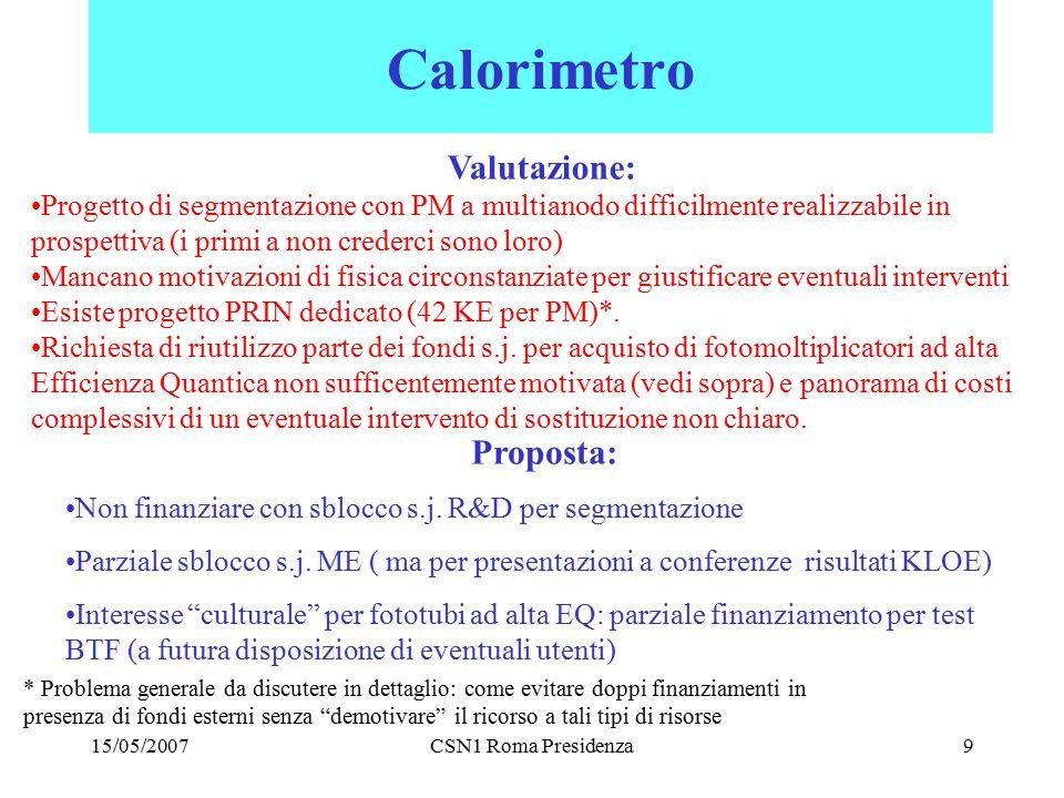 15/05/2007CSN1 Roma Presidenza9 Calorimetro Valutazione: Progetto di segmentazione con PM a multianodo difficilmente realizzabile in prospettiva (i pr