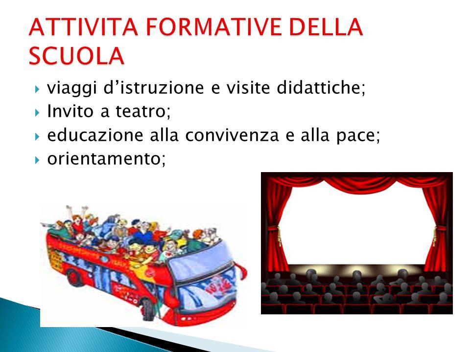  viaggi d'istruzione e visite didattiche;  Invito a teatro;  educazione alla convivenza e alla pace;  orientamento;