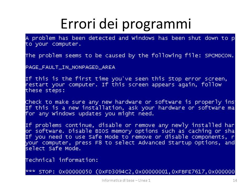 Errori dei programmi 14Informatica di base – Linea 1
