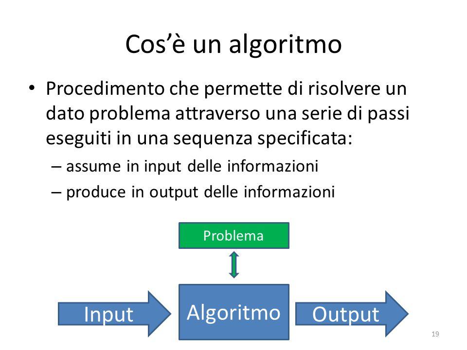 Cos'è un algoritmo Procedimento che permette di risolvere un dato problema attraverso una serie di passi eseguiti in una sequenza specificata: – assume in input delle informazioni – produce in output delle informazioni 19 InputOutput Informatica di base – Linea 1 Algoritmo Problema