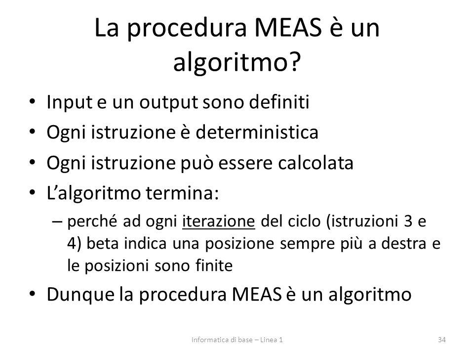 La procedura MEAS è un algoritmo? Input e un output sono definiti Ogni istruzione è deterministica Ogni istruzione può essere calcolata L'algoritmo te