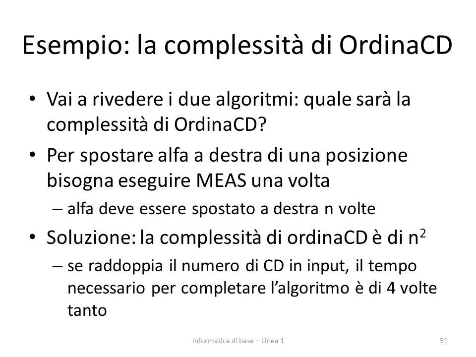 Esempio: la complessità di OrdinaCD Vai a rivedere i due algoritmi: quale sarà la complessità di OrdinaCD? Per spostare alfa a destra di una posizione