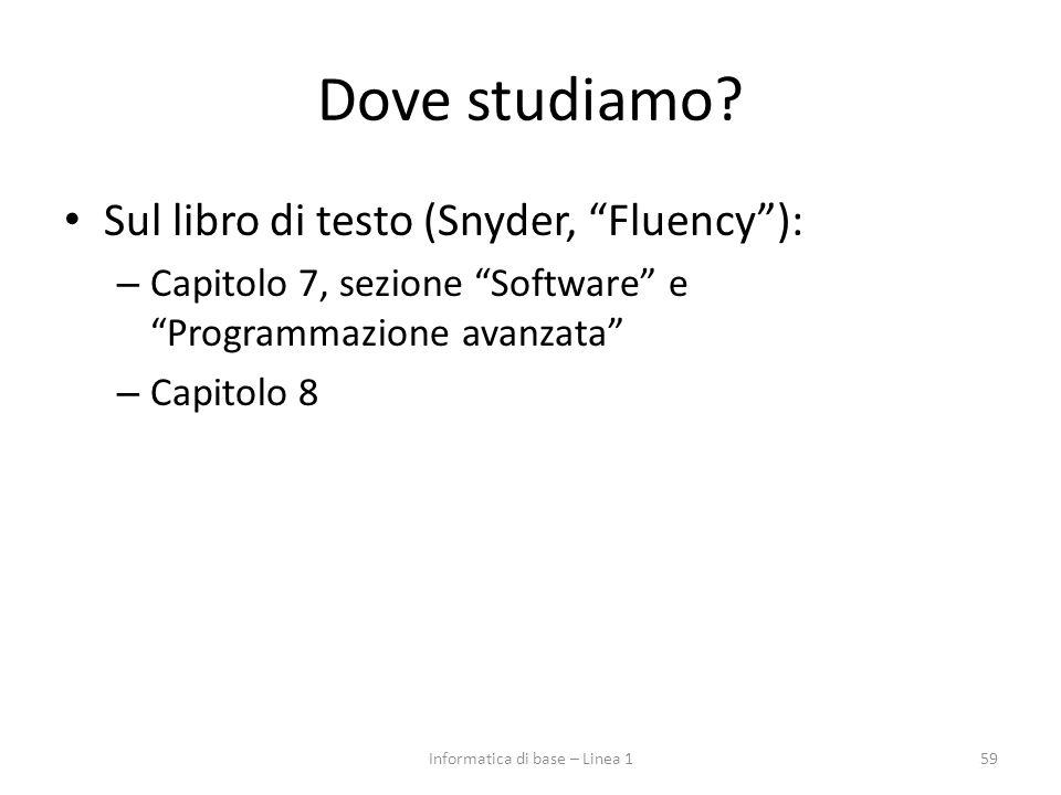 """Dove studiamo? Sul libro di testo (Snyder, """"Fluency""""): – Capitolo 7, sezione """"Software"""" e """"Programmazione avanzata"""" – Capitolo 8 59Informatica di base"""