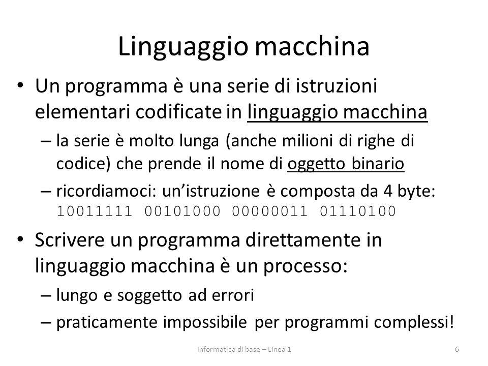 Linguaggio macchina Un programma è una serie di istruzioni elementari codificate in linguaggio macchina – la serie è molto lunga (anche milioni di righe di codice) che prende il nome di oggetto binario – ricordiamoci: un'istruzione è composta da 4 byte: 10011111 00101000 00000011 01110100 Scrivere un programma direttamente in linguaggio macchina è un processo: – lungo e soggetto ad errori – praticamente impossibile per programmi complessi.