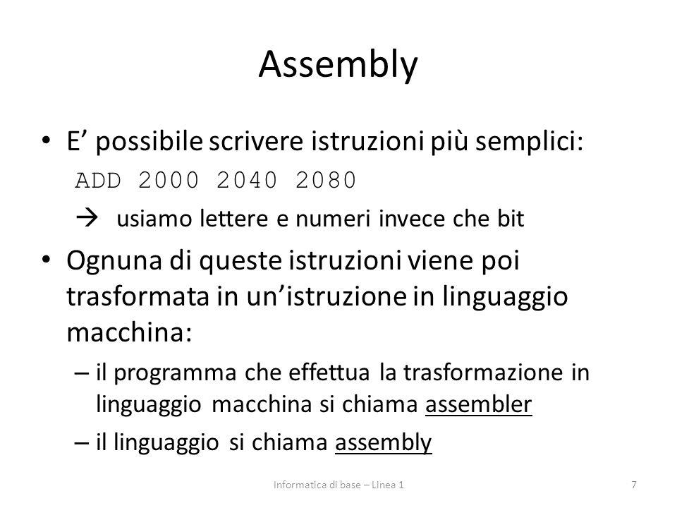 Assembly E' possibile scrivere istruzioni più semplici: ADD 2000 2040 2080  usiamo lettere e numeri invece che bit Ognuna di queste istruzioni viene