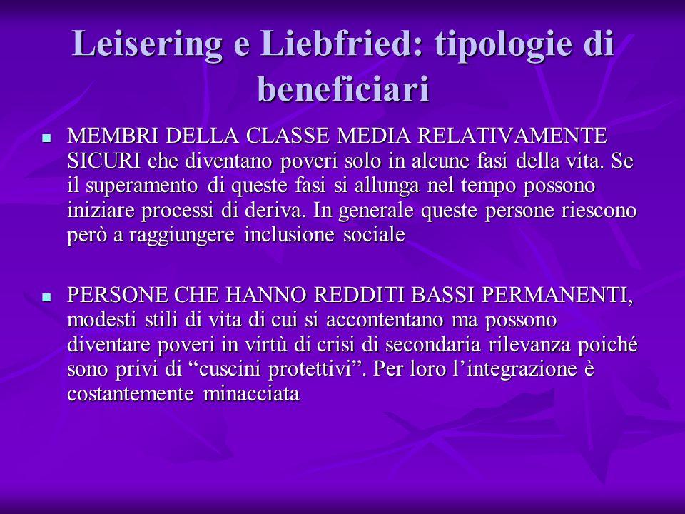 Leisering e Liebfried: tipologie di beneficiari MEMBRI DELLA CLASSE MEDIA RELATIVAMENTE SICURI che diventano poveri solo in alcune fasi della vita.