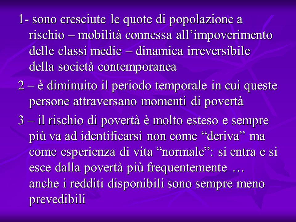Ricerche statiche e dinamiche in Italia La paura di impoverimento non sia percezione vaga ma rischio reale (Rapporto 2004 Commissione d'indagine sull'esclusione) La paura di impoverimento non sia percezione vaga ma rischio reale (Rapporto 2004 Commissione d'indagine sull'esclusione) La povertà assume forme molteplici: l'incidenza (17% statica) non coincide con la ben più alta parte della popolazione che ha avuto redditi bassi almeno in un anno nell'intero periodo considerato (dinamica) La povertà assume forme molteplici: l'incidenza (17% statica) non coincide con la ben più alta parte della popolazione che ha avuto redditi bassi almeno in un anno nell'intero periodo considerato (dinamica) Solo per il 54% della popolazione il rischio della povertà è lontano Solo per il 54% della popolazione il rischio della povertà è lontano Circa il 50% di coloro che cadono sotto la soglia di povertà riescono ad uscirne dopo un anno ma il 19% vi ricade ancora nell'arco dell'anno successivo Circa il 50% di coloro che cadono sotto la soglia di povertà riescono ad uscirne dopo un anno ma il 19% vi ricade ancora nell'arco dell'anno successivo Le implicazioni sulle politiche sociali dovrebbero essere rilevanti: interventi tempestivi e di breve durata potrebbero favorire l'uscita