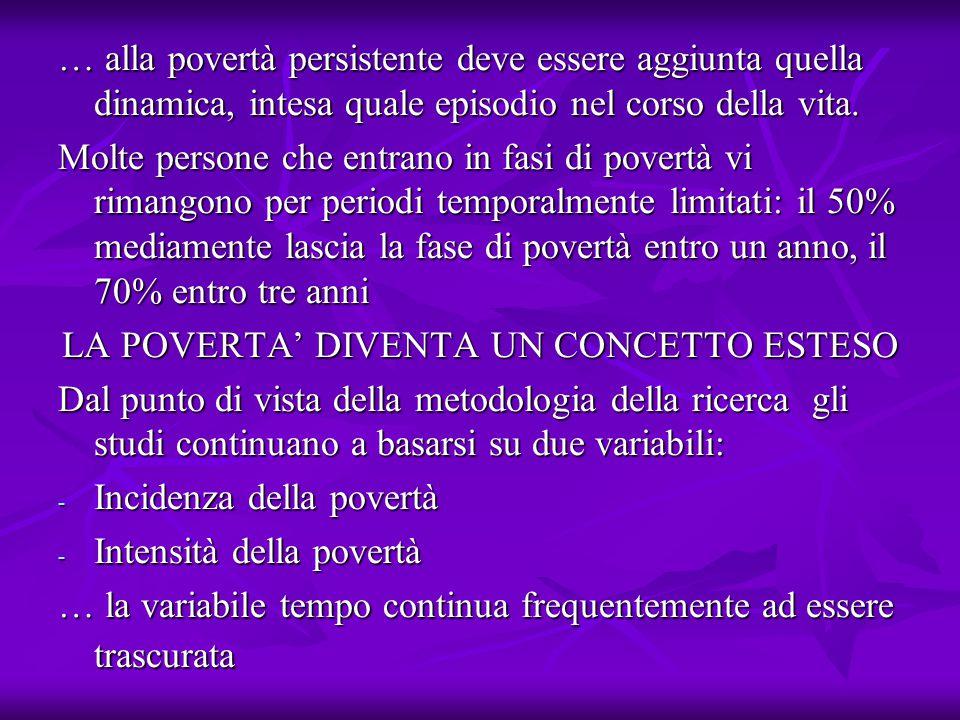 … alla povertà persistente deve essere aggiunta quella dinamica, intesa quale episodio nel corso della vita.