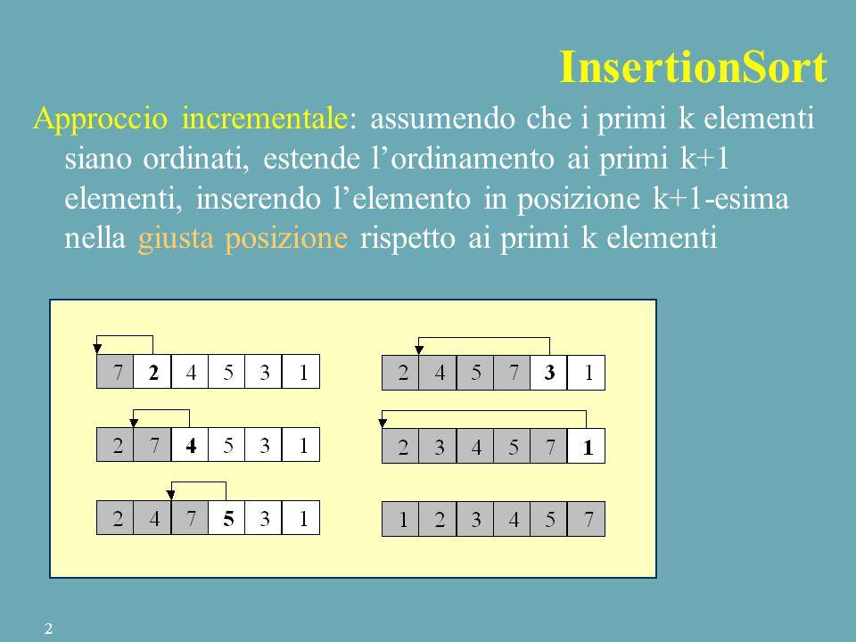 InsertionSort Approccio incrementale: assumendo che i primi k elementi siano ordinati, estende l'ordinamento ai primi k+1 elementi, inserendo l'elemento in posizione k+1-esima nella giusta posizione rispetto ai primi k elementi 2