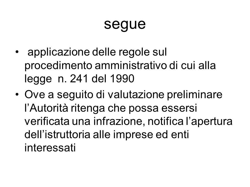 segue applicazione delle regole sul procedimento amministrativo di cui alla legge n.