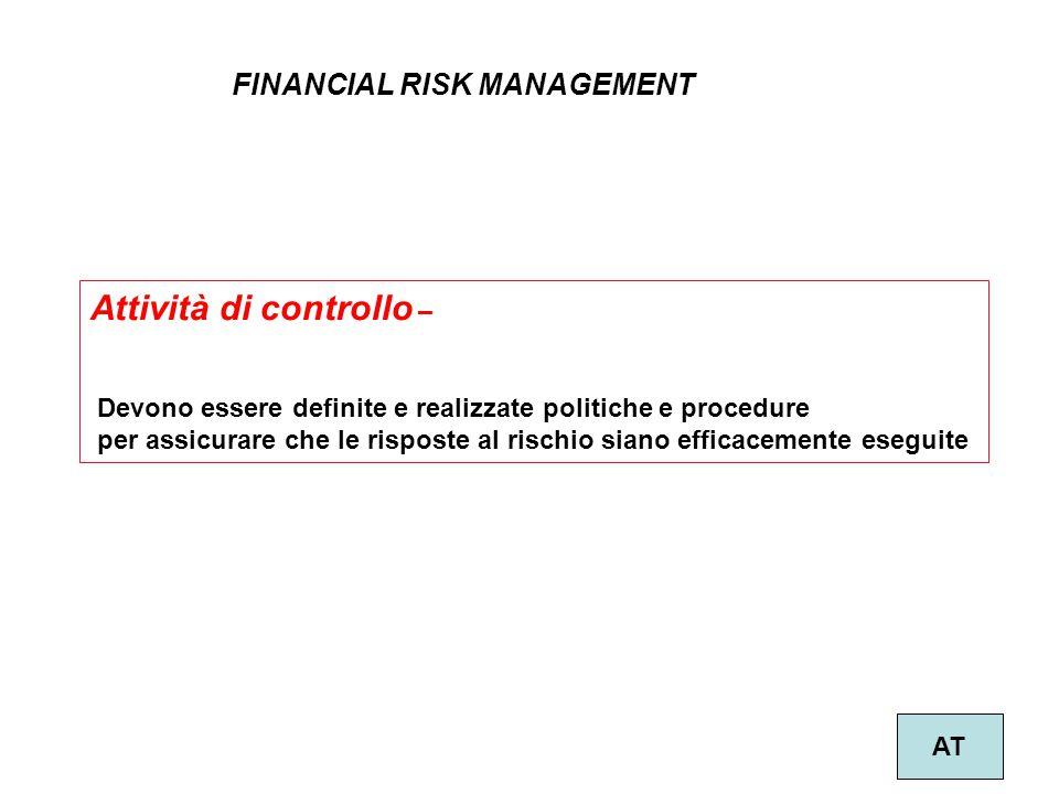 27 FINANCIAL RISK MANAGEMENT AT Attività di controllo – Devono essere definite e realizzate politiche e procedure per assicurare che le risposte al ri