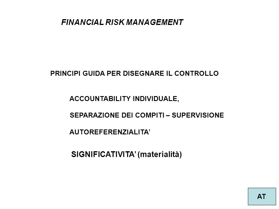 28 FINANCIAL RISK MANAGEMENT AT PRINCIPI GUIDA PER DISEGNARE IL CONTROLLO ACCOUNTABILITY INDIVIDUALE, SEPARAZIONE DEI COMPITI – SUPERVISIONE AUTOREFER