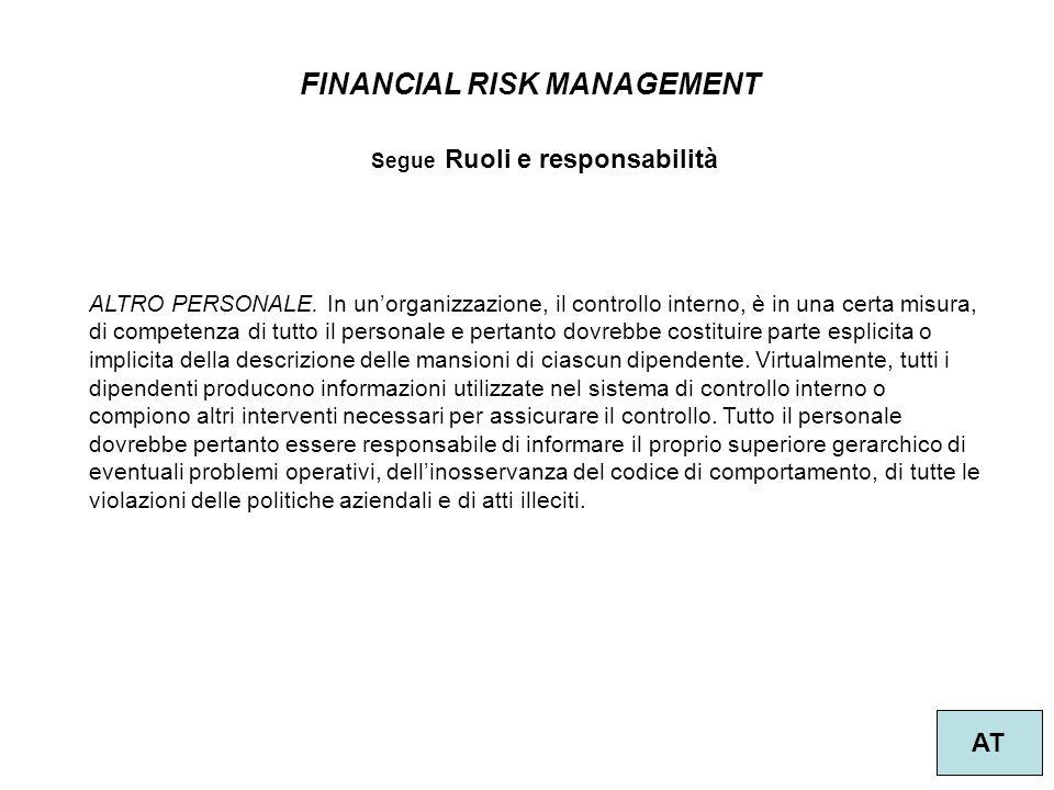 37 FINANCIAL RISK MANAGEMENT AT Segue Ruoli e responsabilità ALTRO PERSONALE. In un'organizzazione, il controllo interno, è in una certa misura, di co