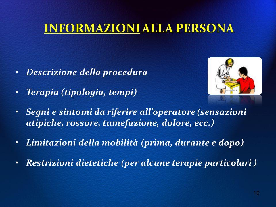 INFORMAZIONI ALLA PERSONA Descrizione della procedura Terapia (tipologia, tempi) Segni e sintomi da riferire all'operatore (sensazioni atipiche, rosso