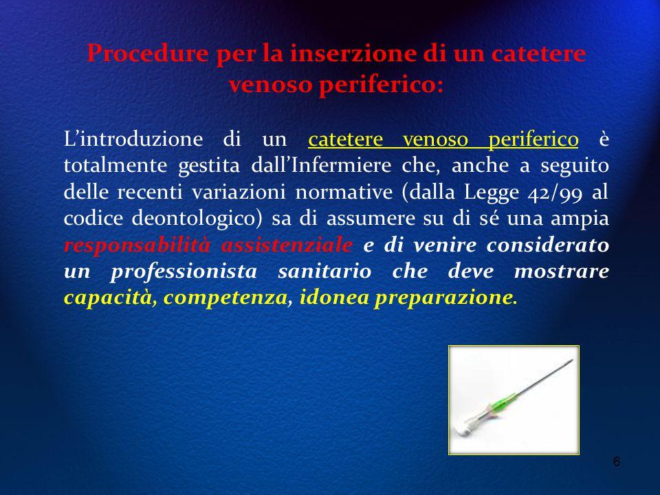 6 Procedure per la inserzione di un catetere venoso periferico: L'introduzione di un catetere venoso periferico è totalmente gestita dall'Infermiere c