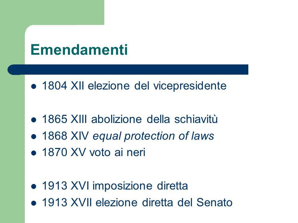 Emendamenti 1804 XII elezione del vicepresidente 1865 XIII abolizione della schiavitù 1868 XIV equal protection of laws 1870 XV voto ai neri 1913 XVI