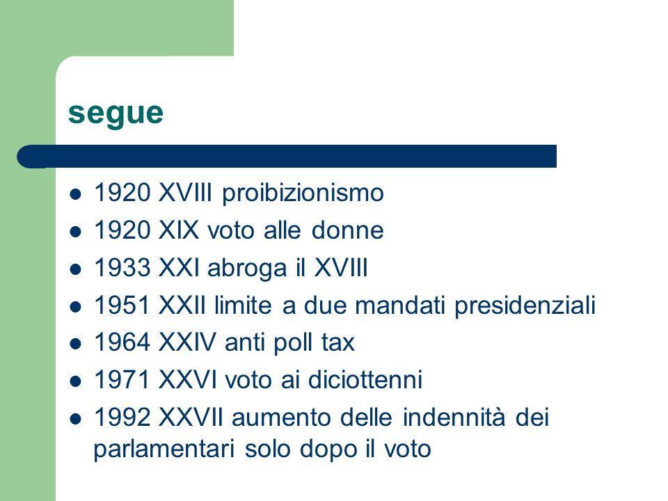 segue 1920 XVIII proibizionismo 1920 XIX voto alle donne 1933 XXI abroga il XVIII 1951 XXII limite a due mandati presidenziali 1964 XXIV anti poll tax