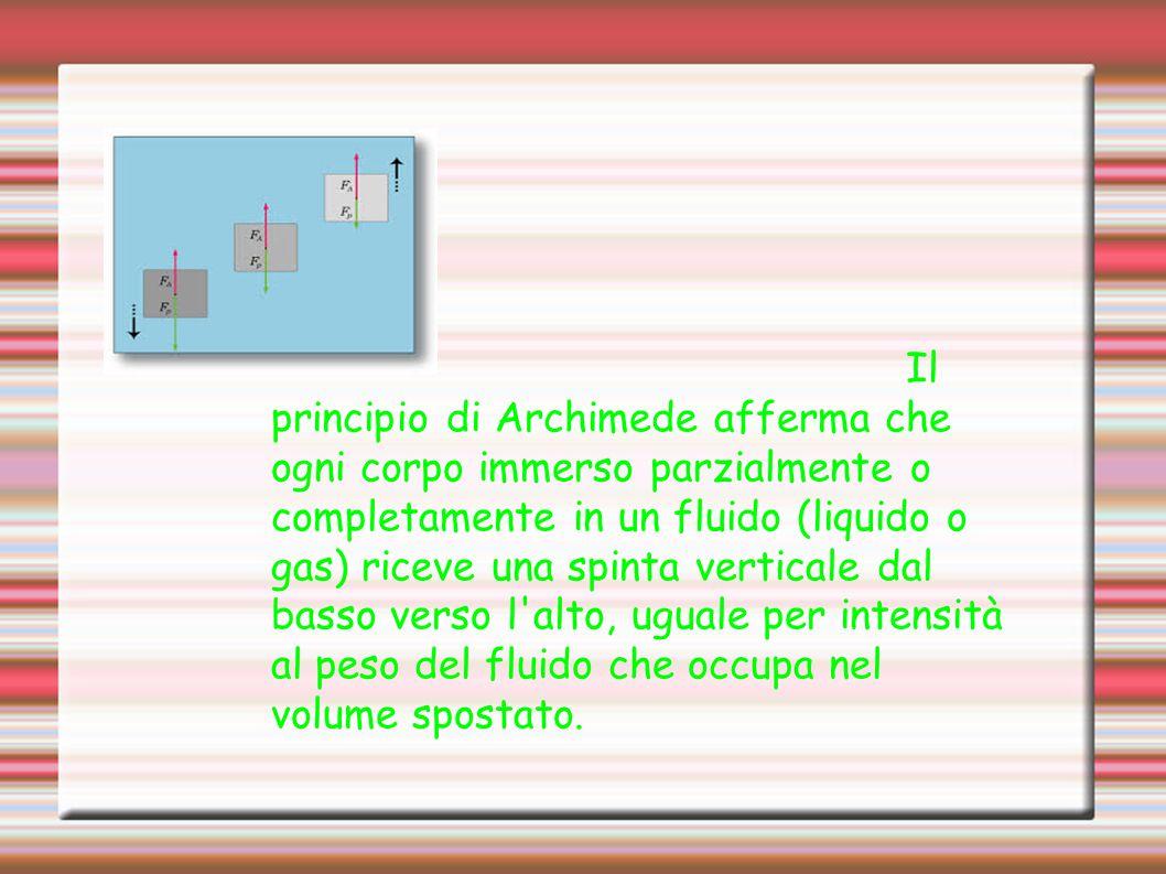 Il principio di Archimede afferma che ogni corpo immerso parzialmente o completamente in un fluido (liquido o gas) riceve una spinta verticale dal bas