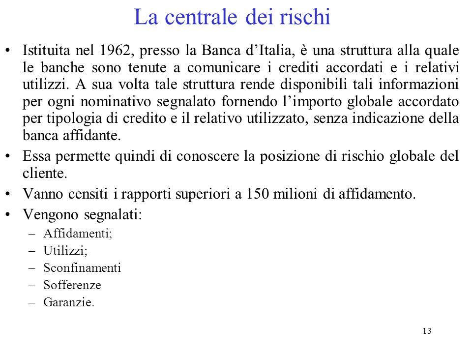 13 La centrale dei rischi Istituita nel 1962, presso la Banca d'Italia, è una struttura alla quale le banche sono tenute a comunicare i crediti accordati e i relativi utilizzi.