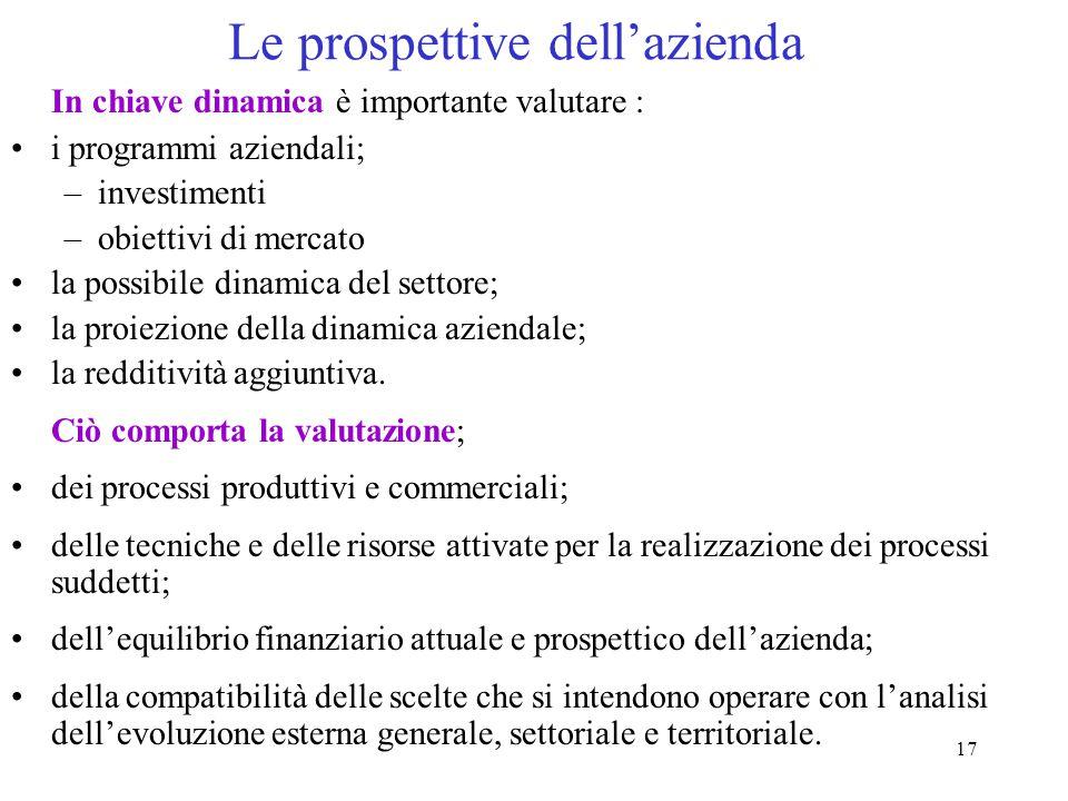 17 Le prospettive dell'azienda In chiave dinamica è importante valutare : i programmi aziendali; –investimenti –obiettivi di mercato la possibile dinamica del settore; la proiezione della dinamica aziendale; la redditività aggiuntiva.