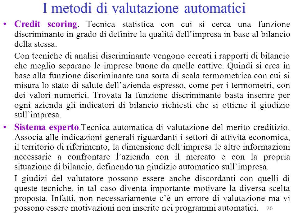 20 I metodi di valutazione automatici Credit scoring.