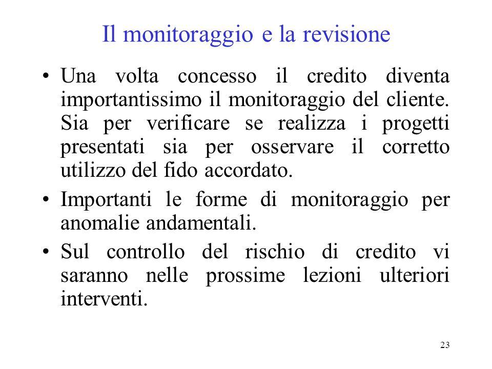 23 Il monitoraggio e la revisione Una volta concesso il credito diventa importantissimo il monitoraggio del cliente.
