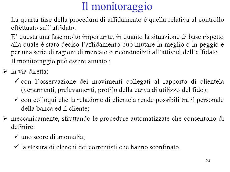 24 Il monitoraggio La quarta fase della procedura di affidamento è quella relativa al controllo effettuato sull'affidato.