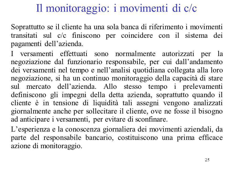 25 Il monitoraggio: i movimenti di c/c Soprattutto se il cliente ha una sola banca di riferimento i movimenti transitati sul c/c finiscono per coincidere con il sistema dei pagamenti dell'azienda.
