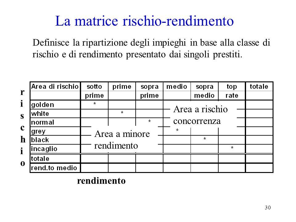 30 La matrice rischio-rendimento Definisce la ripartizione degli impieghi in base alla classe di rischio e di rendimento presentato dai singoli prestiti.