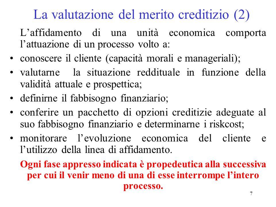 7 La valutazione del merito creditizio (2) L'affidamento di una unità economica comporta l'attuazione di un processo volto a: conoscere il cliente (capacità morali e manageriali); valutarne la situazione reddituale in funzione della validità attuale e prospettica; definirne il fabbisogno finanziario; conferire un pacchetto di opzioni creditizie adeguate al suo fabbisogno finanziario e determinarne i riskcost; monitorare l'evoluzione economica del cliente e l'utilizzo della linea di affidamento.