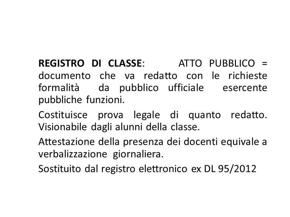REGISTRO DI CLASSE: ATTO PUBBLICO = documento che va redatto con le richieste formalità da pubblico ufficiale esercente pubbliche funzioni. Costituisc