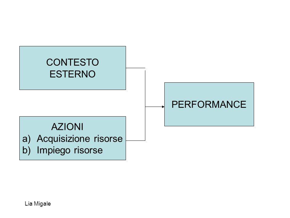 Lia Migale CONTESTO ESTERNO AZIONI a)Acquisizione risorse b)Impiego risorse PERFORMANCE